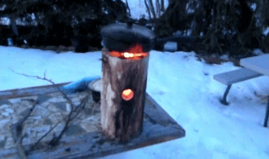 rocket stove from wood 2 photo