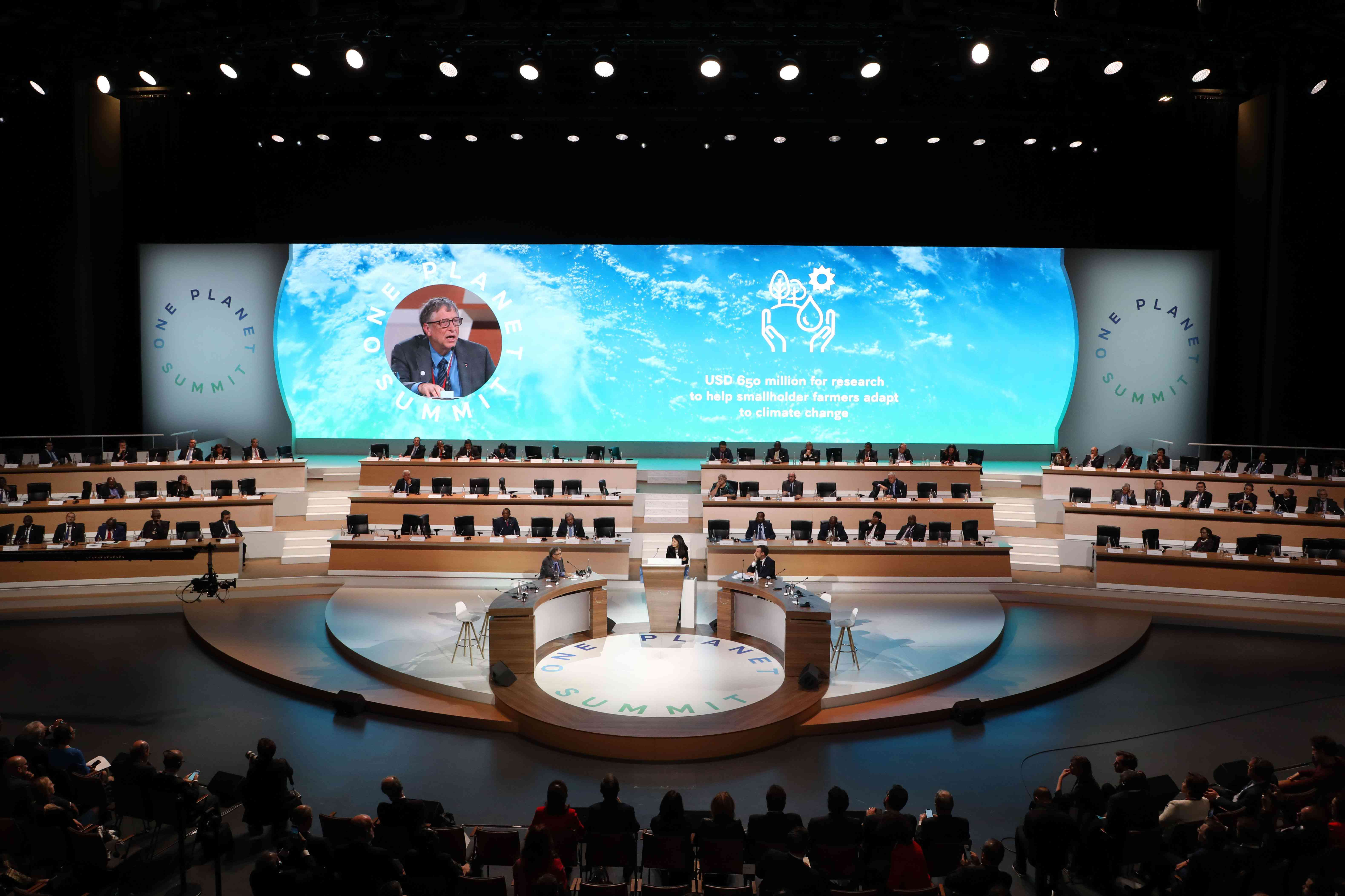 Bill Gates speaks at the 2017 One Planet Summit in France