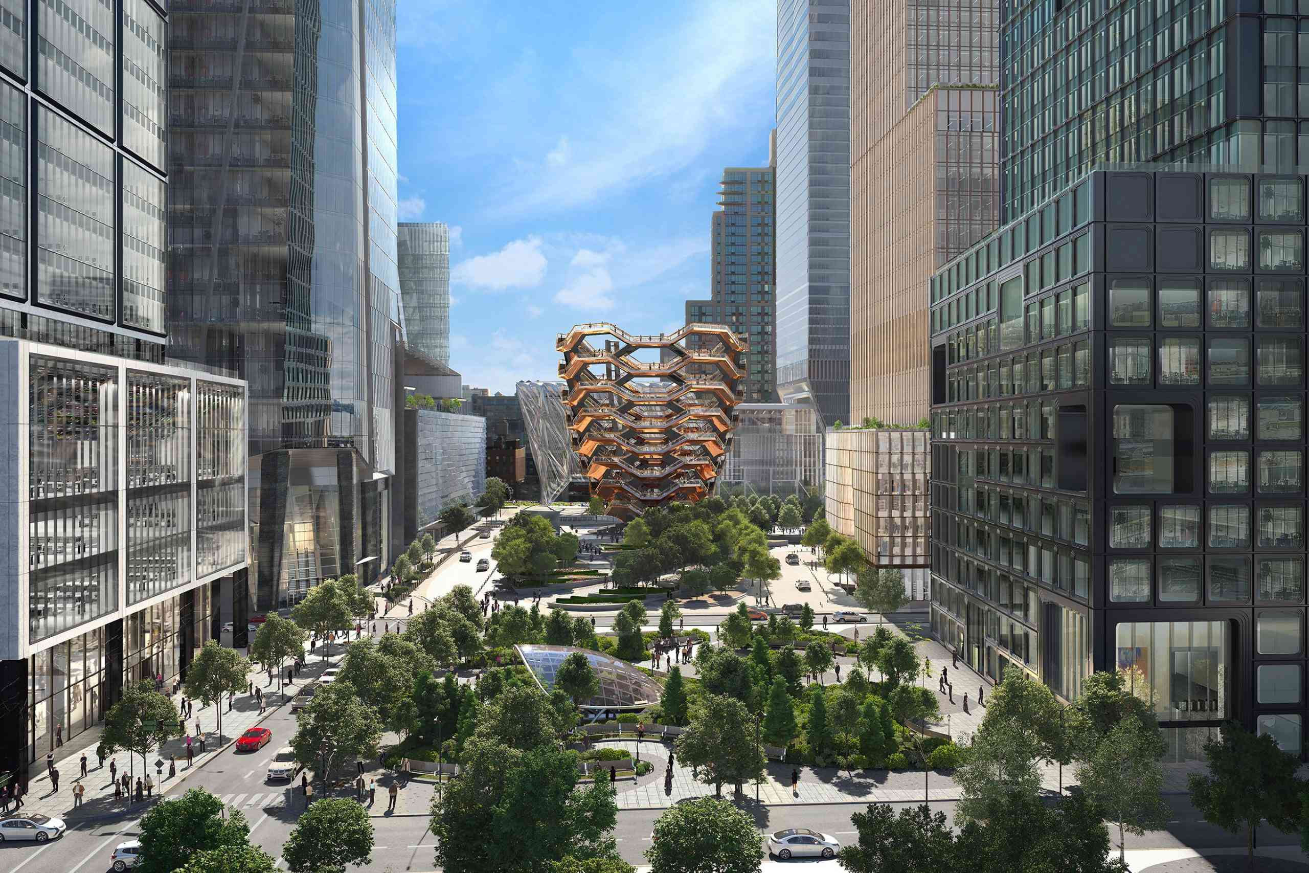 A design rendering of the Public Square at Hudson Yards.