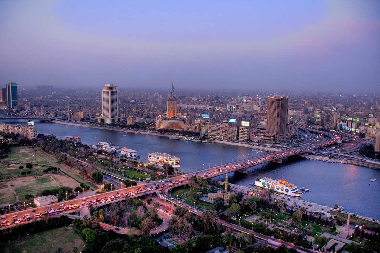 The 6th October Bridge crosses the Nile River in Cairo at dawn