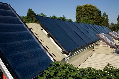 solar panels roof house photo