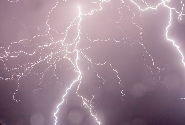Lightning flashing across the sky