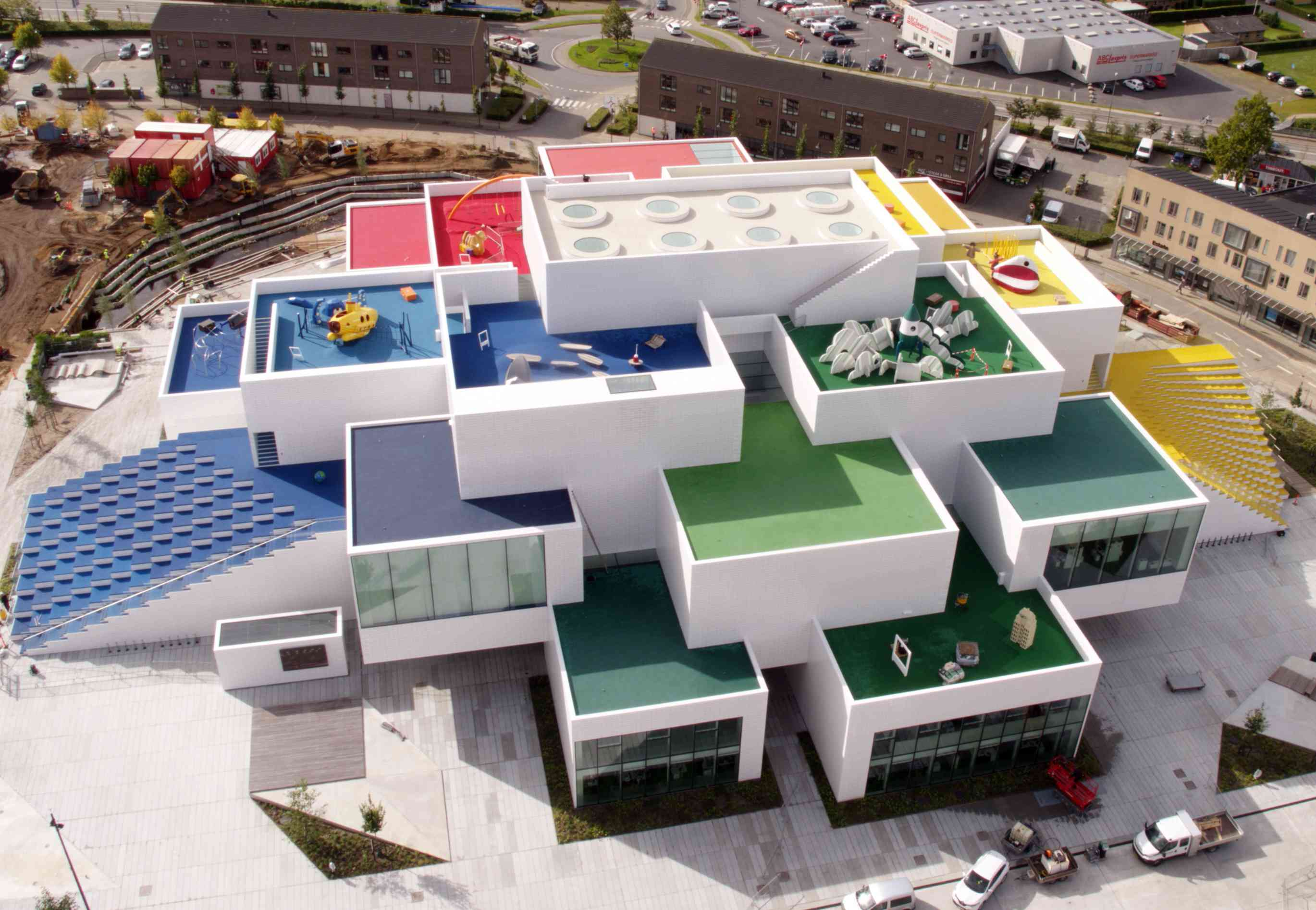 Exterior of LEGO House pictured ahead of grand opening, Sept. 2017, Billund, Denmark