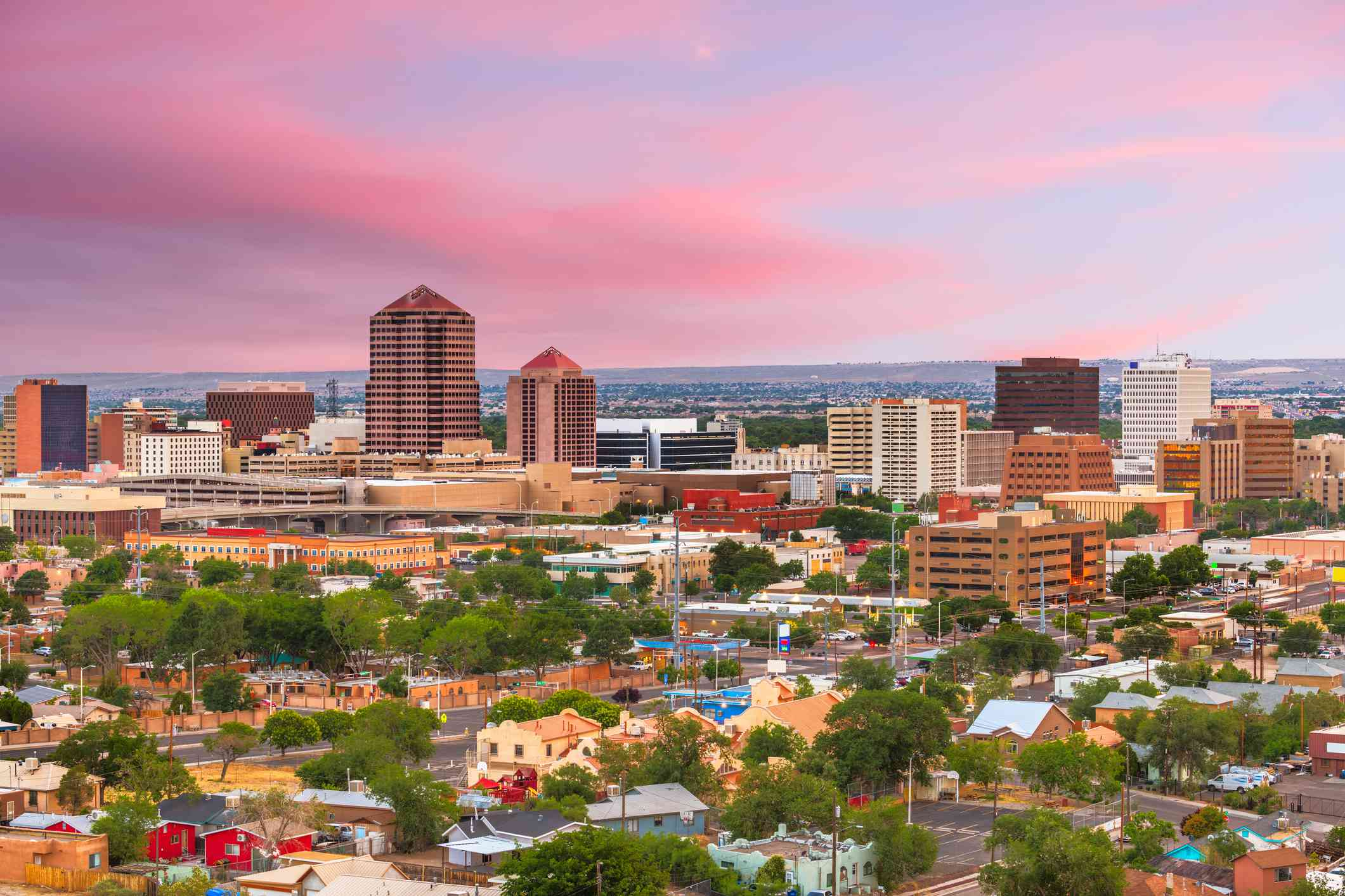 Aerial view of downtown Albuquerque at sunset