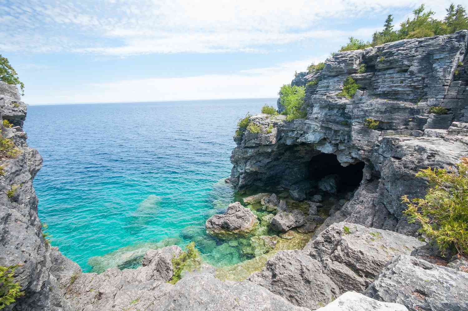 The grotto over looks the turquoise waters of Bruce Peninsula National Park