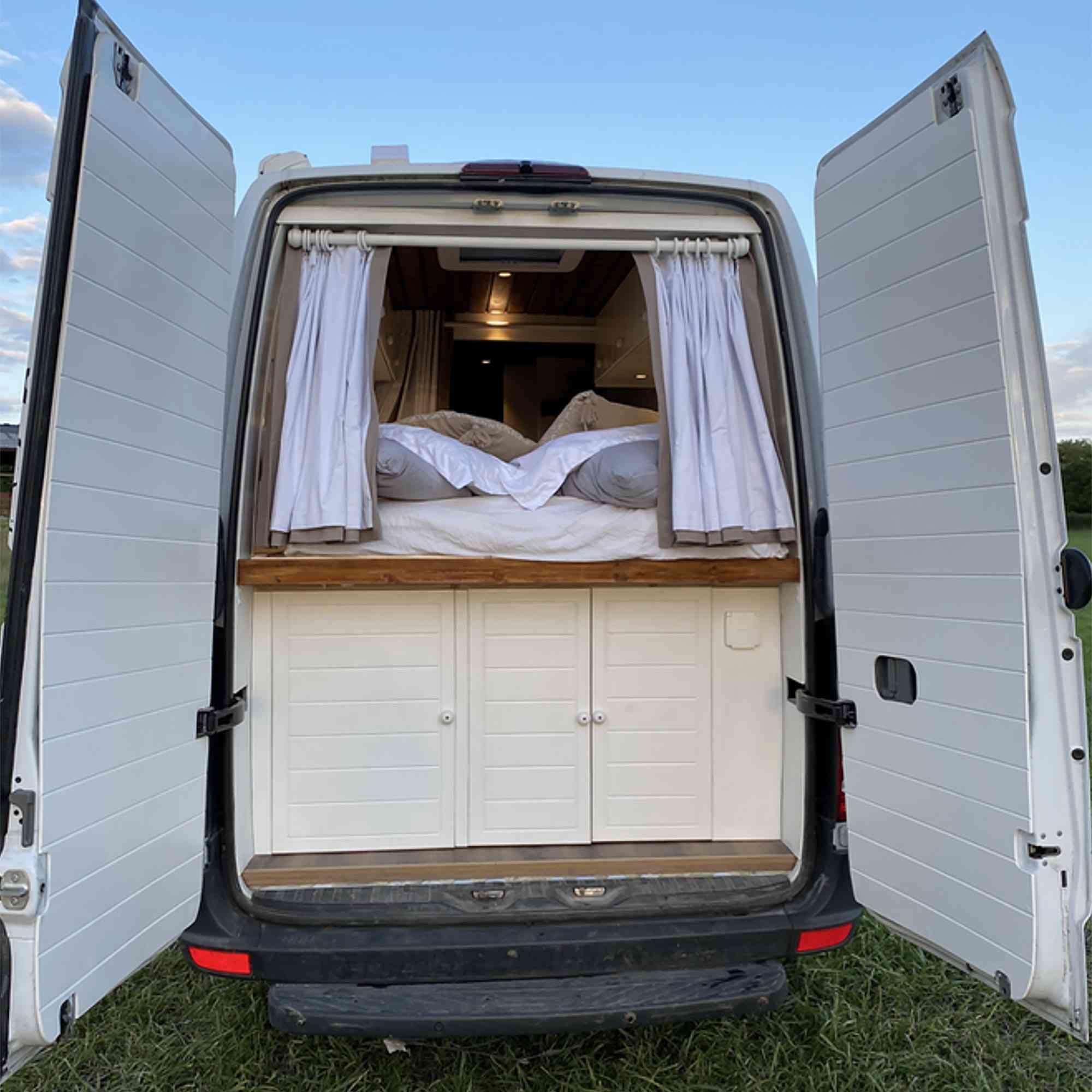Stacia van conversion Vanlife Conversions Ltd. rear storage garage