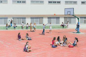 kids in a school yard