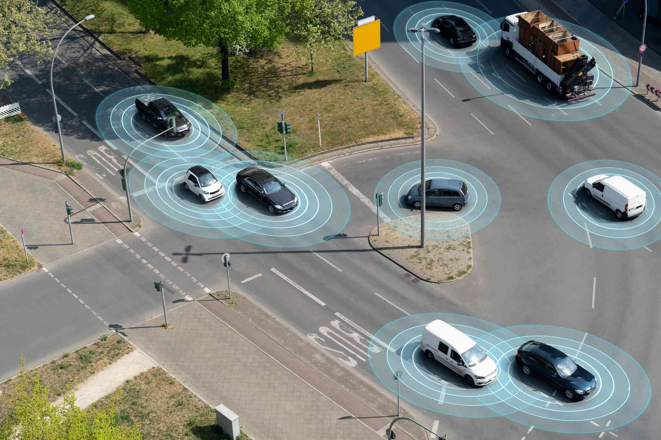 Self-driving vehicles using radar and vision to navigate