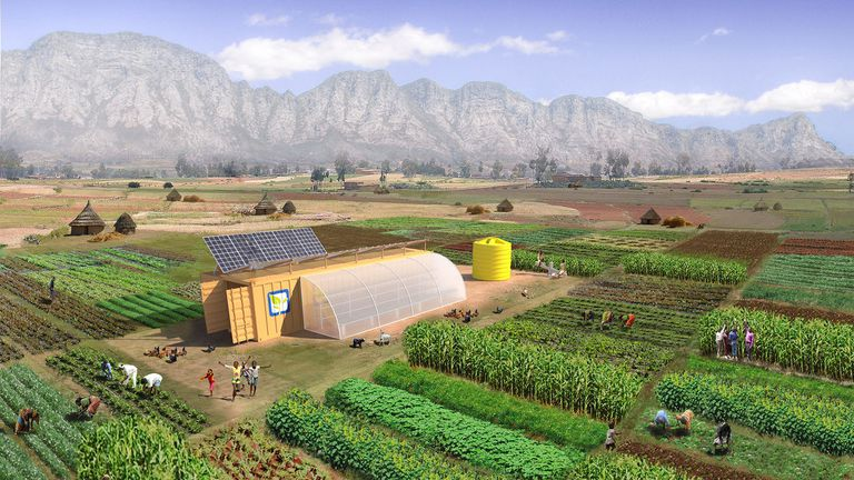 Es una granja de 2 acres, empaquetada en un contenedor de envío que también funciona como un edificio agrícola