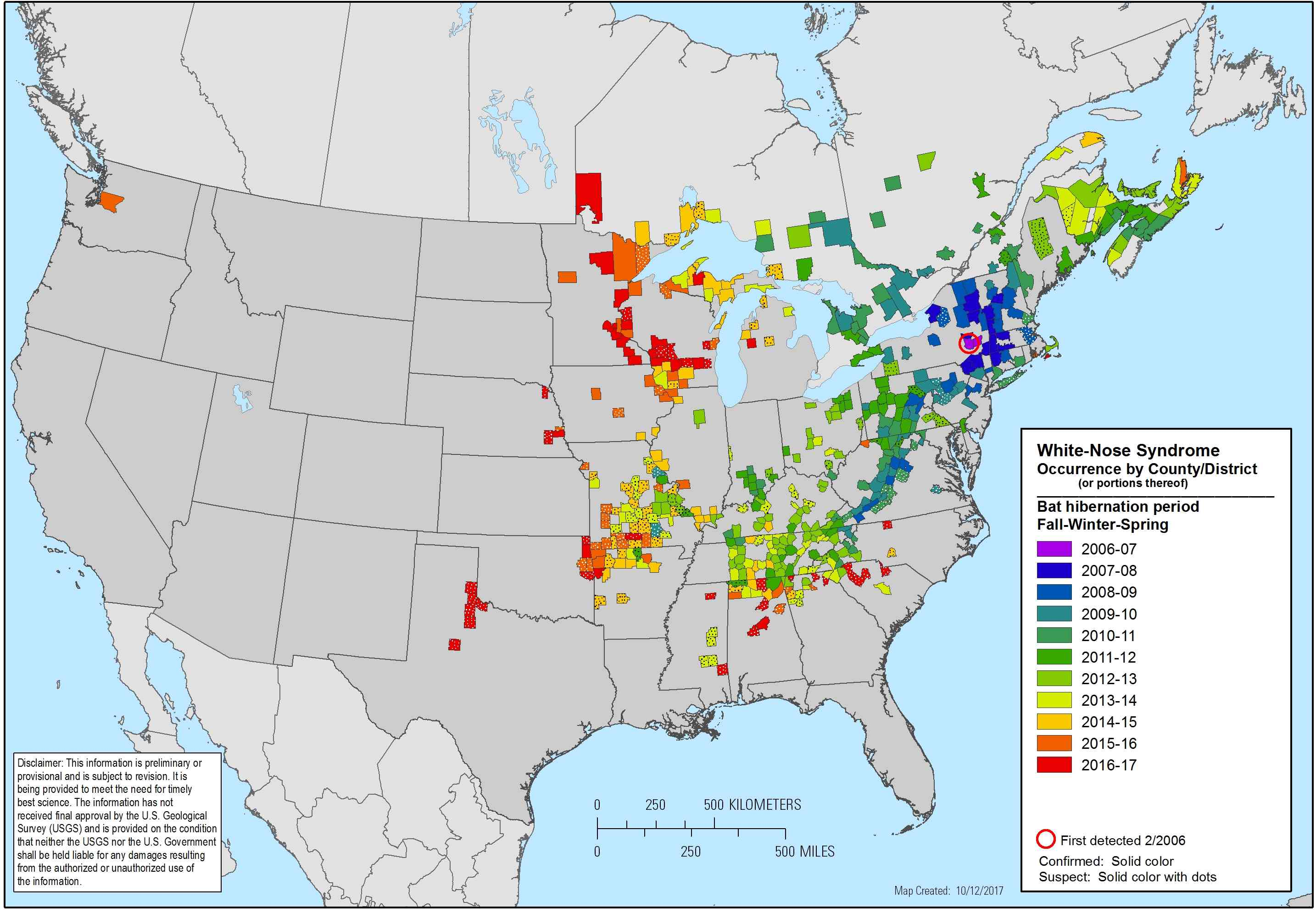 white-nose syndrome map 2017