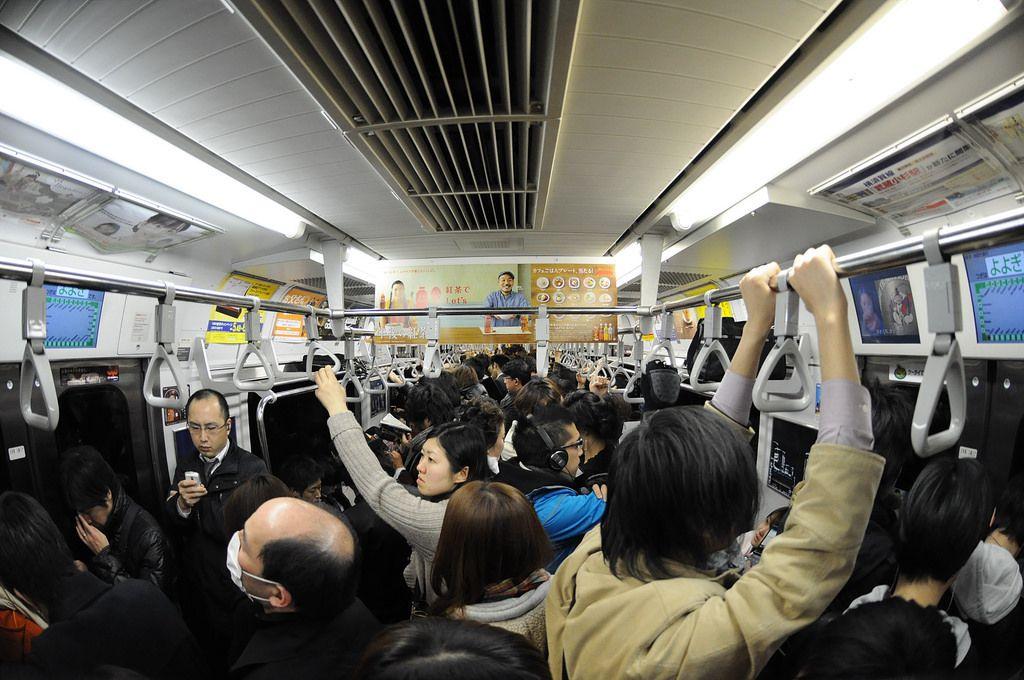 Crowded subway car, Japan