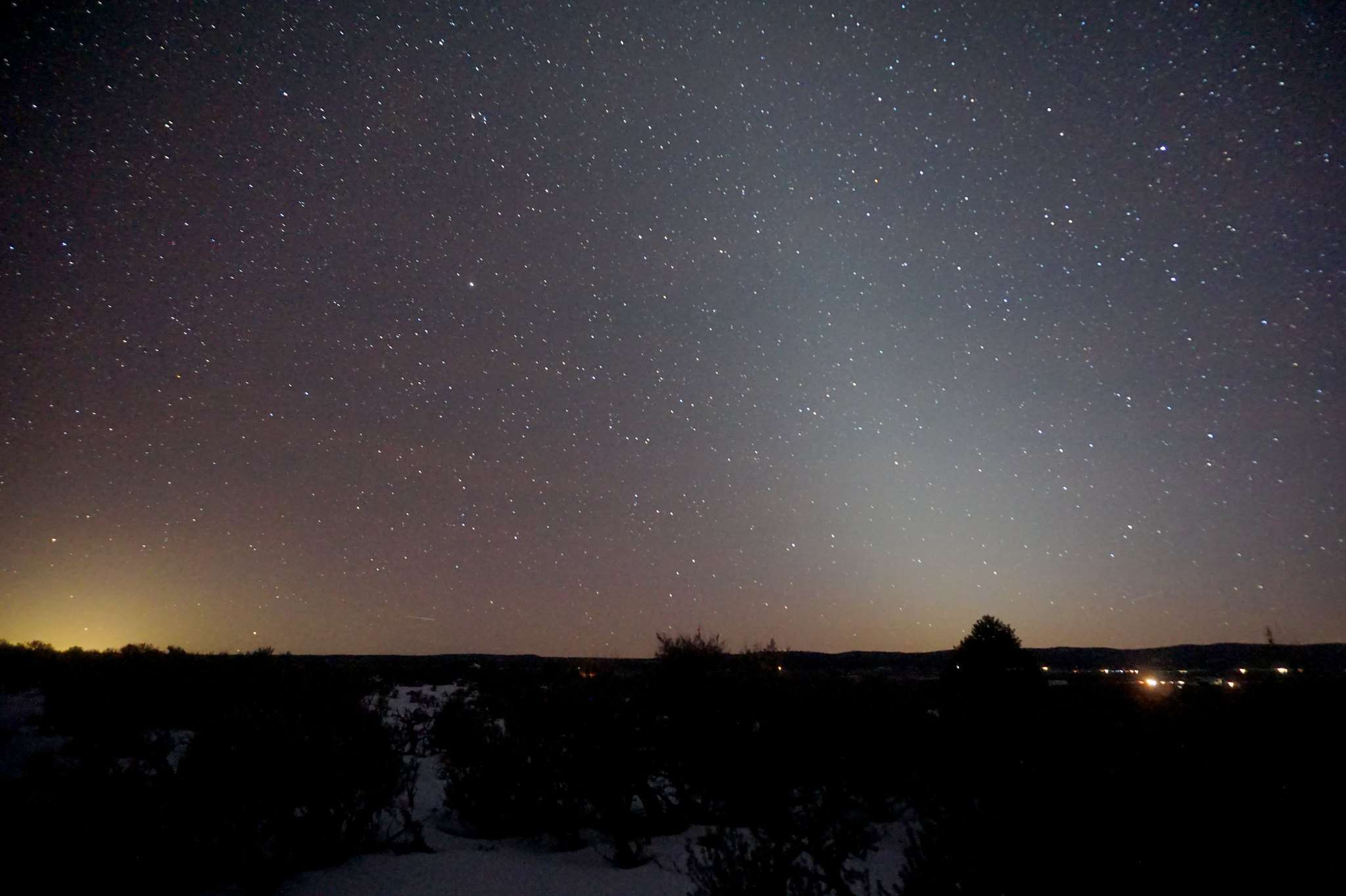 zodiacal light in the western sky at sunset