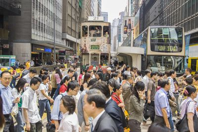 Central, rush time at Des Voeux Road