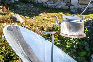 A solar collect heats up a tea kettle.