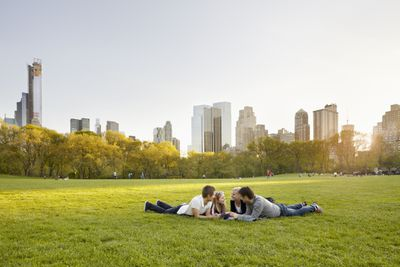 Friends relaxing together in Central Park