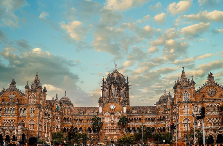 The facade of Chhatrapati Shivaji Terminus on a cloudy day in Mumbai, India