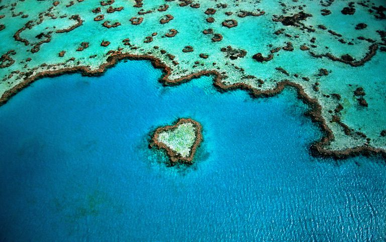 An aerial shot of the heart shaped area of the Great Barrier Reef.