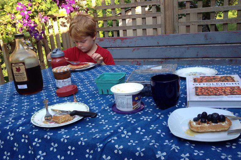 eating breakfast outside