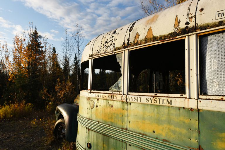 Fairbanks City Transit System bus in the wilderness