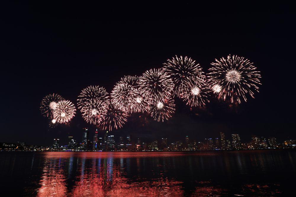 White fireworks over Perth, Australia