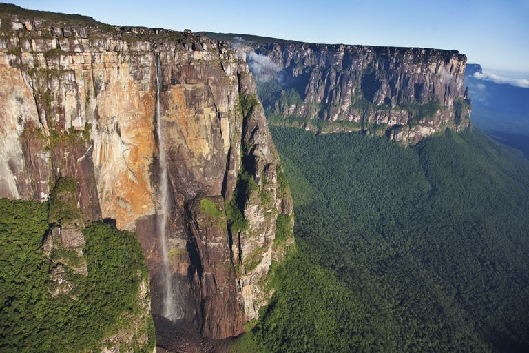 Angel Falls the largest waterfall in the world located in Venezuela.