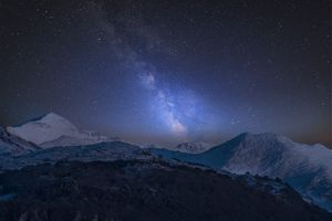 Vibrant Milky Way over snowcapped mountains in Snowdonia National Park