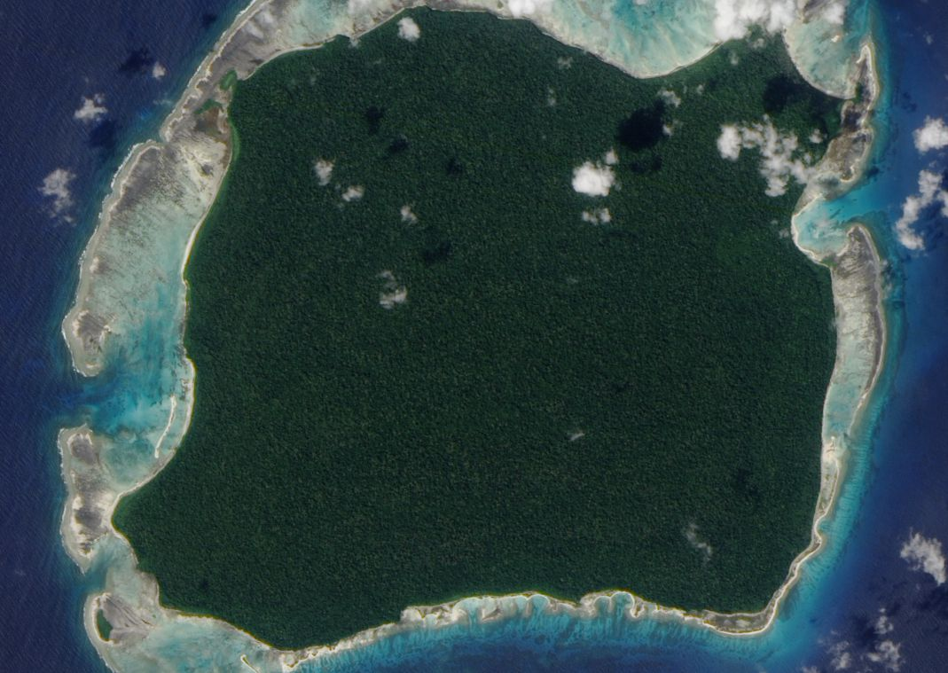 An satellite view of North Sentinel Island