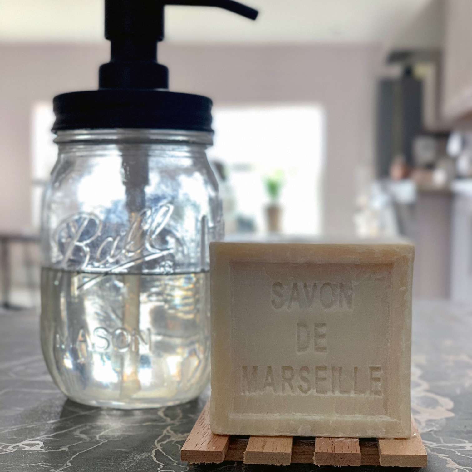 dish soap in a jar and block