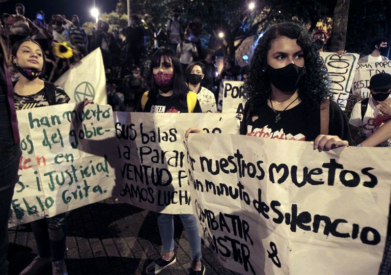 protesters in Colombia