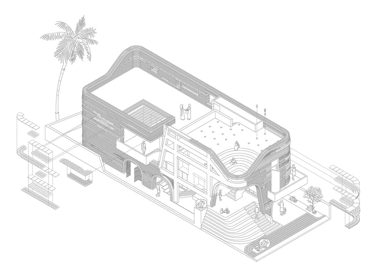 gallery house abin design studio axonometric drawing