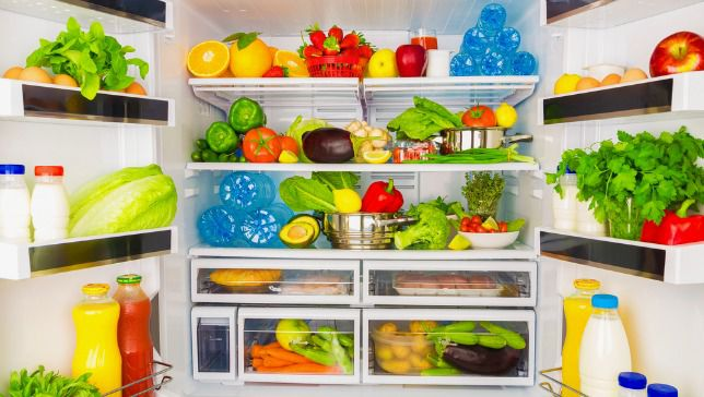 refrigerator full of fresh fruits and vegetables